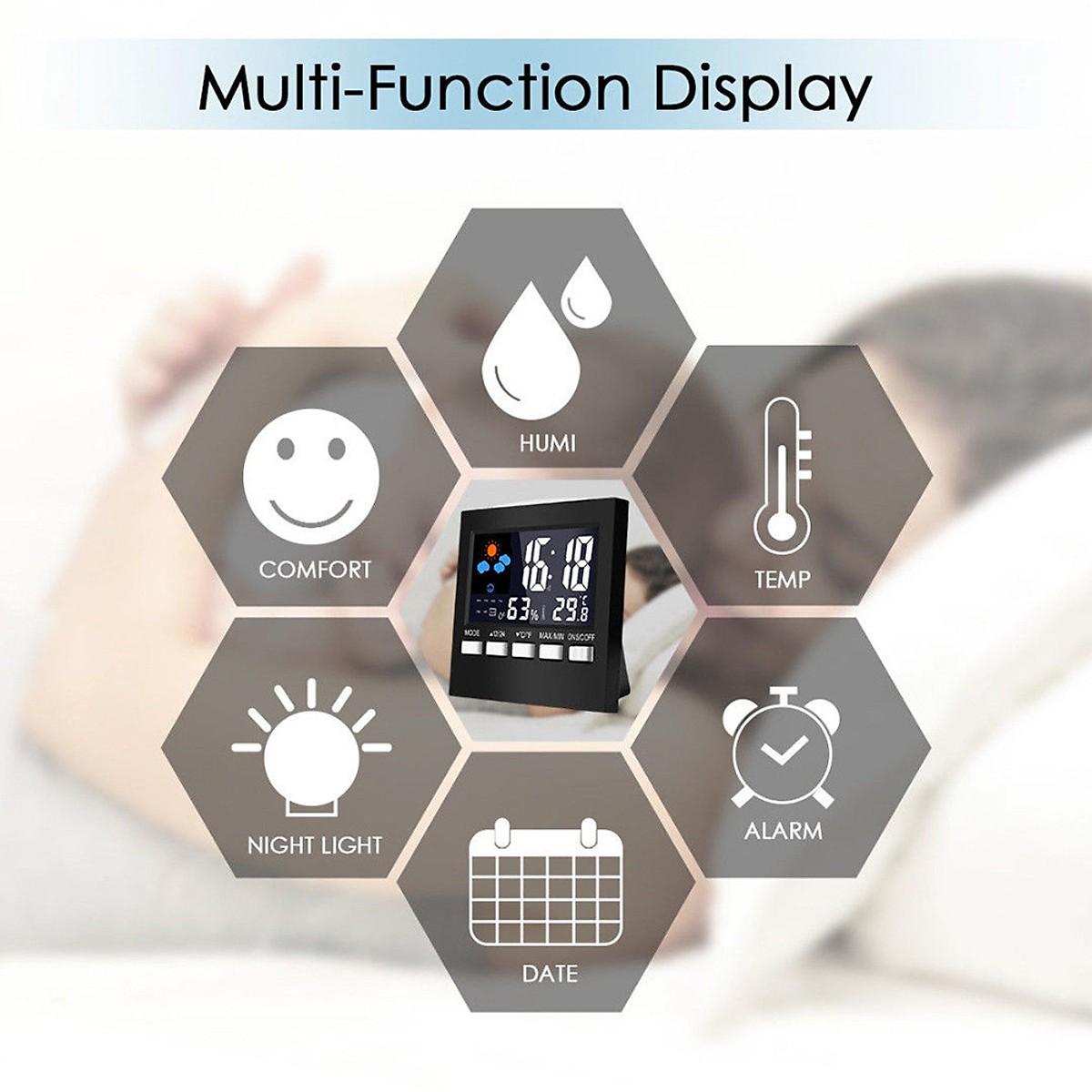 Đồng hồ để bàn đa năng màn LED đo nhiệt độ, độ ẩm, báo thức