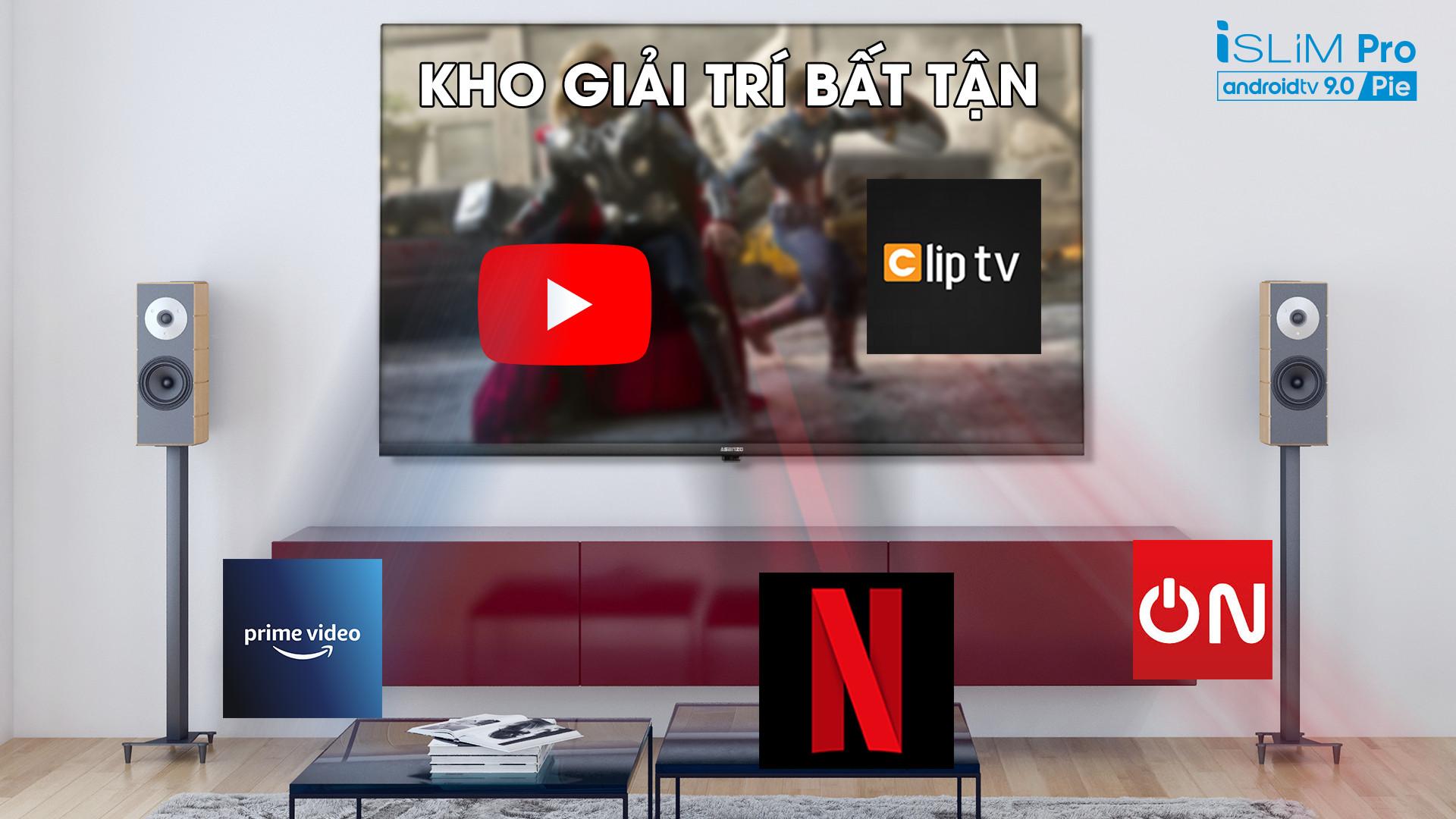 """Smart TV Asanzo iSLIM PRO 43""""- 43S51 (Android 9.0 Pie – 2020) - Hàng Chính Hãng"""