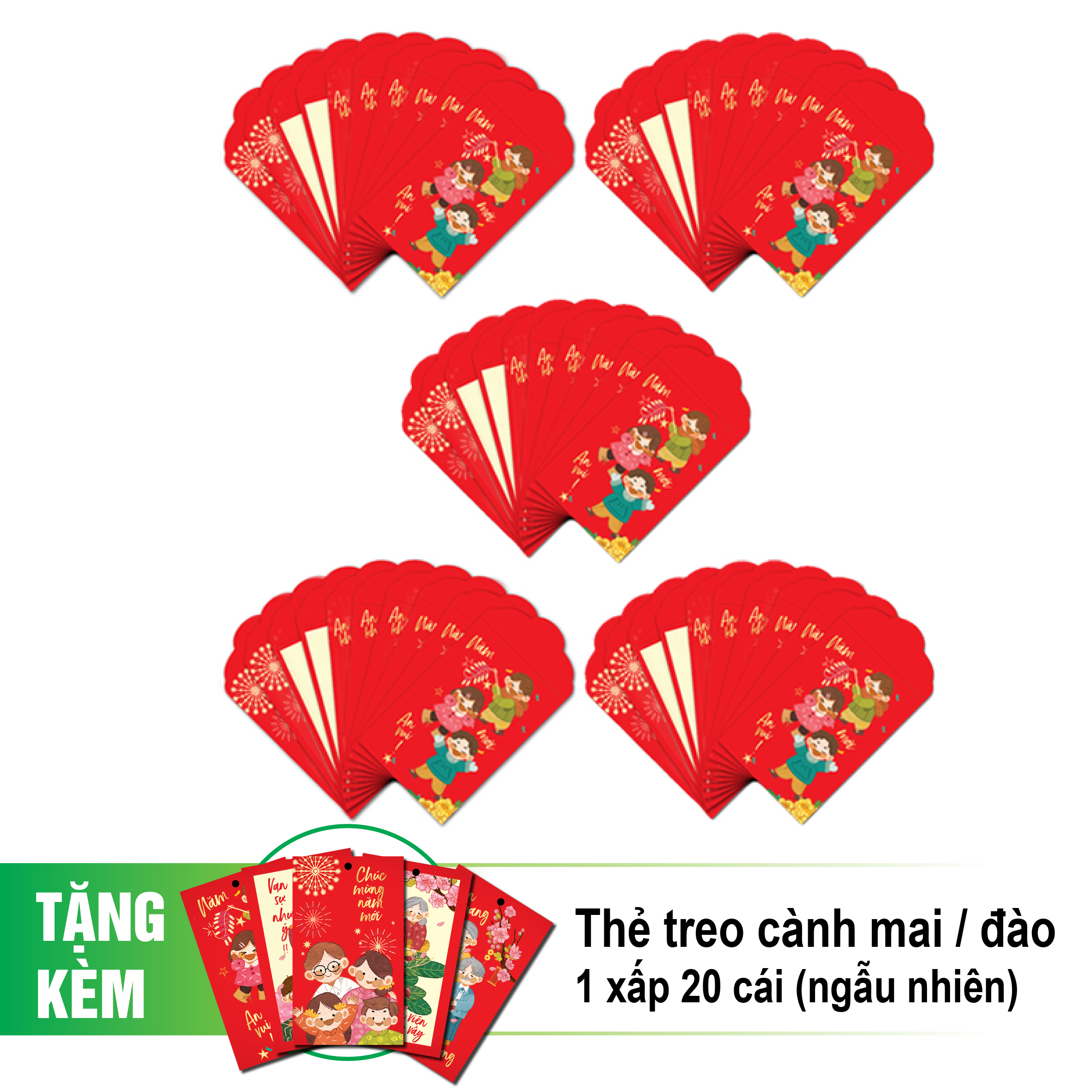 Combo 50 cái bao lì xì nhỏ + tặng 20 thẻ treo cành mai/đào (mẫu ngẫu nhiên)-BLX01