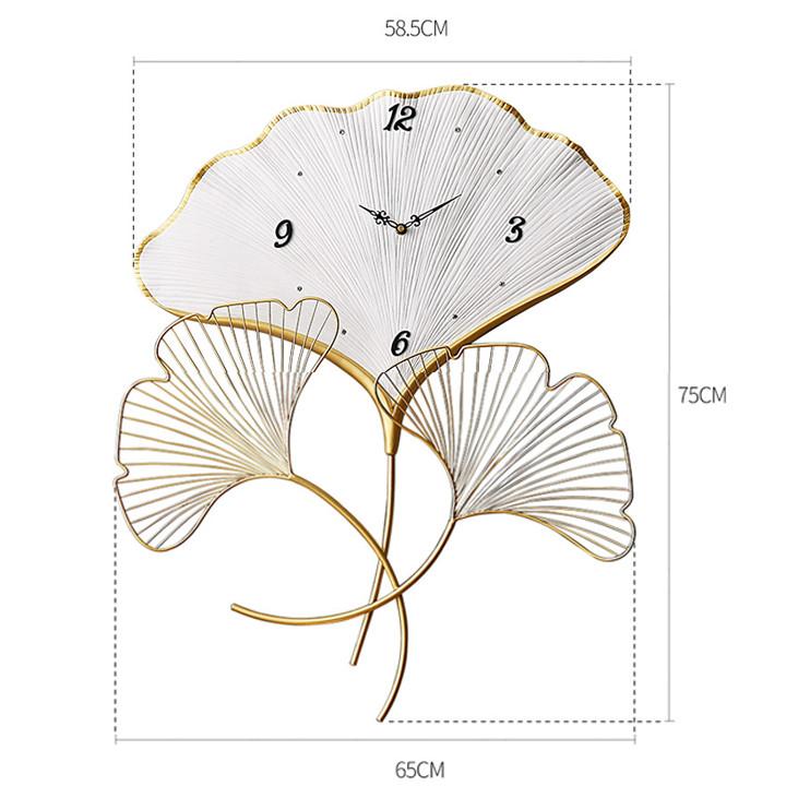 Đồng hồ treo tường hình lá, đồng hồ trang trí DH-TTFB1049