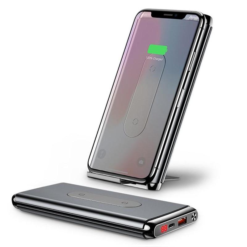 Pin sạc dự phòng không dây Baseus Dual Coil Wireless 10,000mAh, BS-10KP - cho iPhoneX/ XS Max/ Samsung S9/ N9/ Xiaomi/ Huawei (LCD, Type C/PD + QC3.0 , Wireless charge Power bank) - Hàng chính Hãng