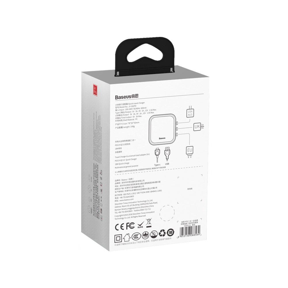 Bộ sạc du lịch toàn cầu sạc nhanh đa năng Baseus Removable 2in1 universal travel adapter PPS (Hàng chính hãng)
