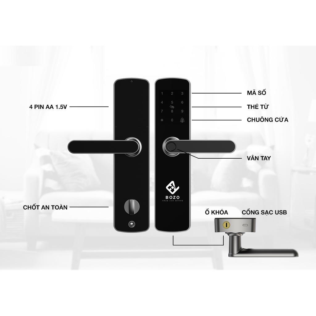 BOZO J301 PLUS - Khoá vân tay chuyên dụng dành cho cửa gỗ