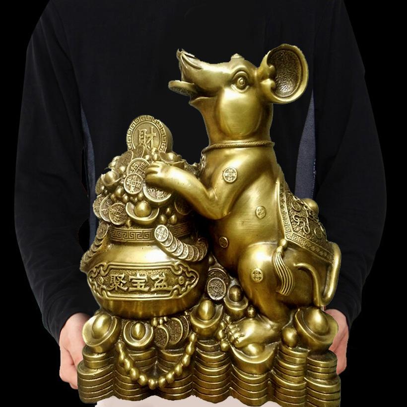 Tượng con chuột ôm hũ tiền bằng đồng thau cỡ đại phong thủy Hồng Thắng