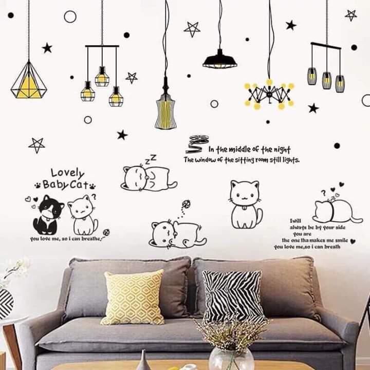 Decal dán tường chùm đèn bóng vàng và đàn mèo - HP412