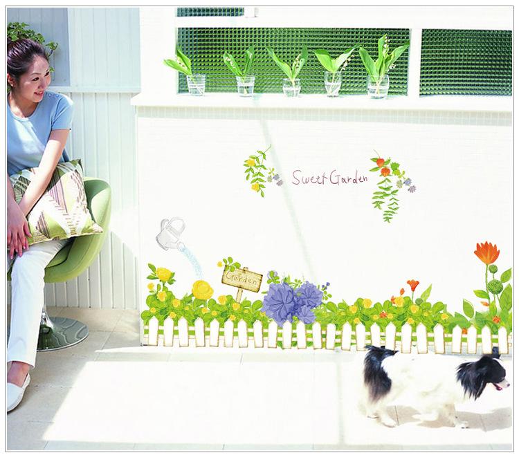 Decal dán tường hàng rào hoa màu xanh lá cây cho bé AY7222
