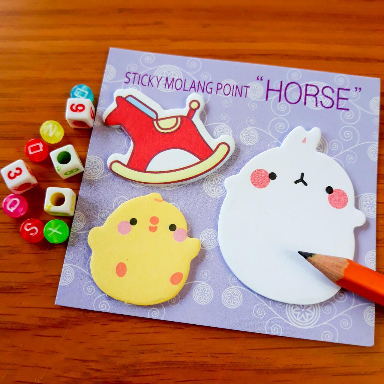 Giấy Ghi Chú Note Phân Trang Molang & Piu Piu Tặng Kèm Bút Chì - Horse