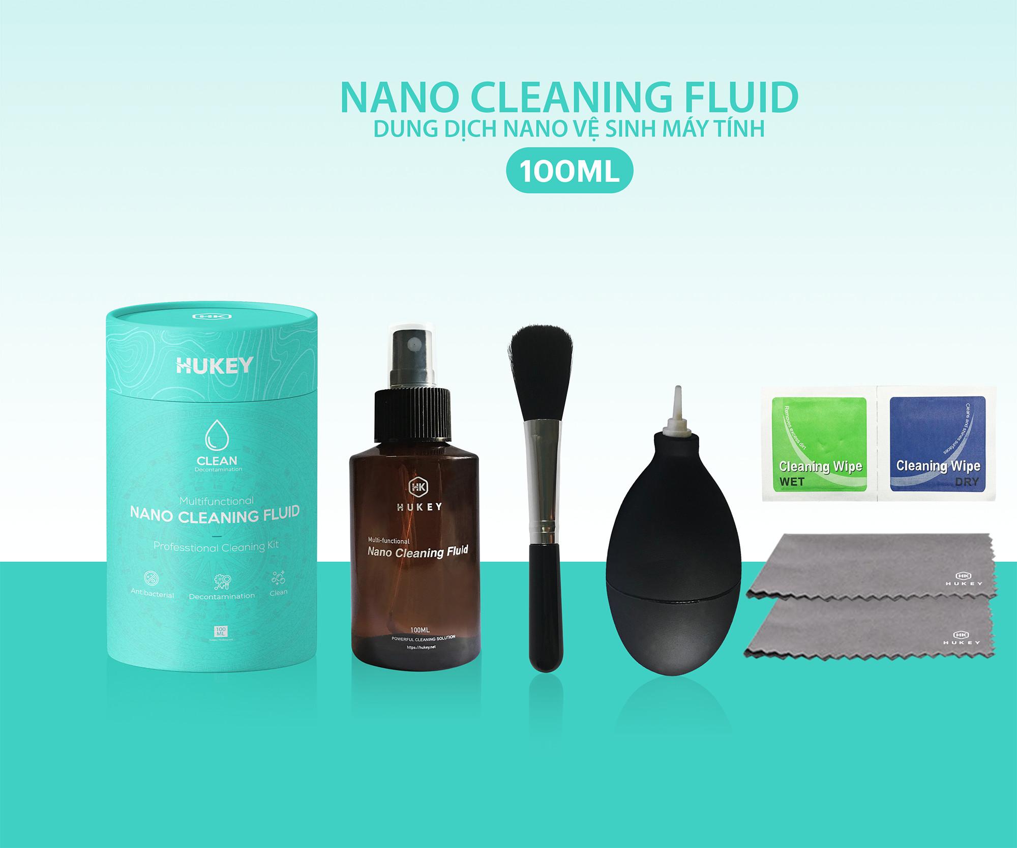 Combo dung dịch nano Hukey lau chùi vệ sinh 7 món cho màn hình, bàn phím cho máy tính, laptop, macbook  - Chính hãng