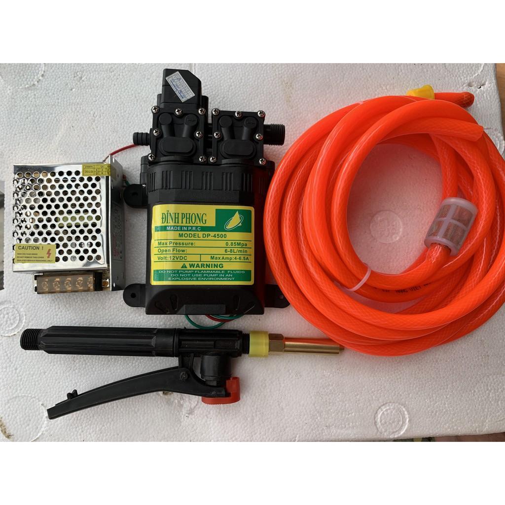 Máy BƠM ÁP LỰC mini 12V rửa xe 12V 6-9l/p siêu khỏe thương hiệu Đỉnh Phong