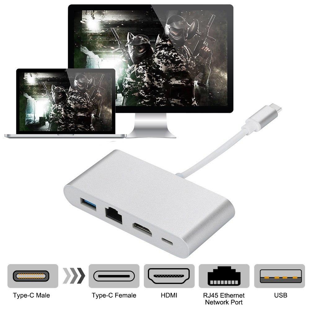 Cáp chuyển đổi Type C sang HDMI - USB 3.0 - LAN - Type C