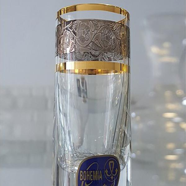 Bộ 6 ly shot, rượu mạnh 050 ml mạ platin vàng 24k Tiệp Khắc