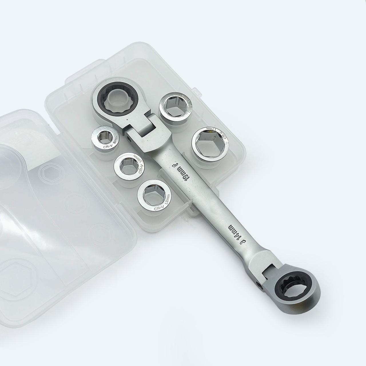 Bộ chén vặn ốc bánh cóc lắc léo 8-19mm
