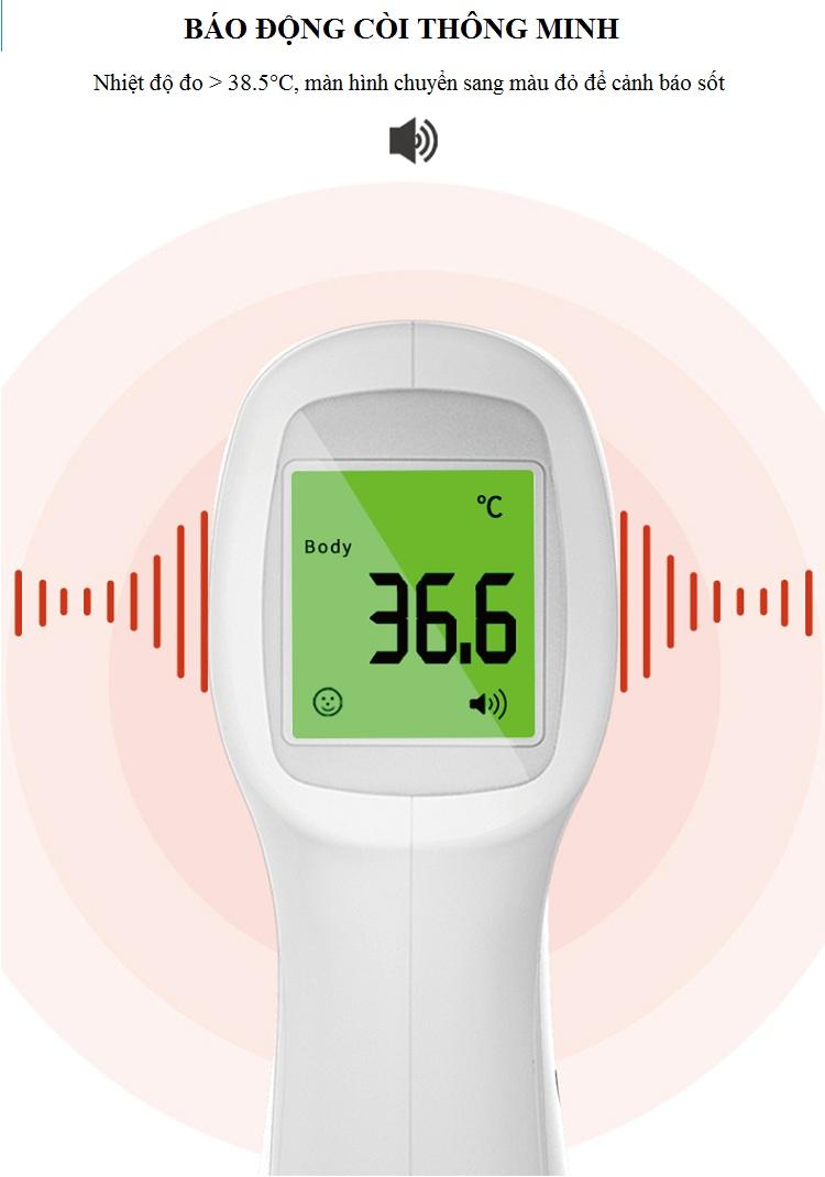 Thiết bị đo nhiệt độ hồng ngoại đo trán, đo nhiệt độ cơ thể chỉ bằng 1 nút bấm ( Tặng kèm 01 nhệt kế mini )