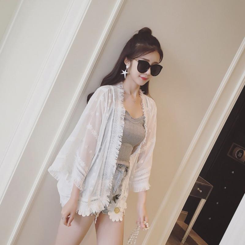 Women Summer Loose Tassels Shawl Lace Splicing Chiffon Blouse - White Size M
