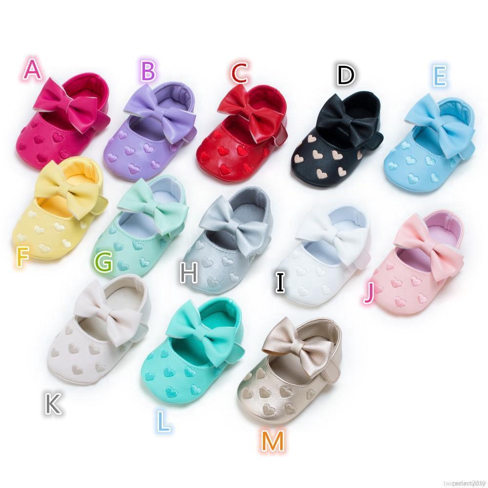 Giày nơ thêu trái tim kute cho bé gái đủ màu -ảnh thật do shop tự chụp