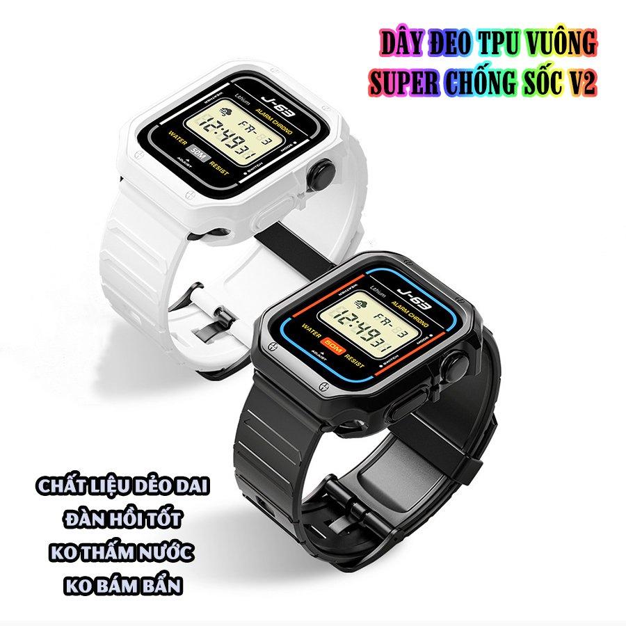 Dây Đeo khung ốp rời dành cho Apple Watch size 38/40/42/44mm TPU vuông SUPER chống sốc V2 - Đen (tặng dán KCL theo size)