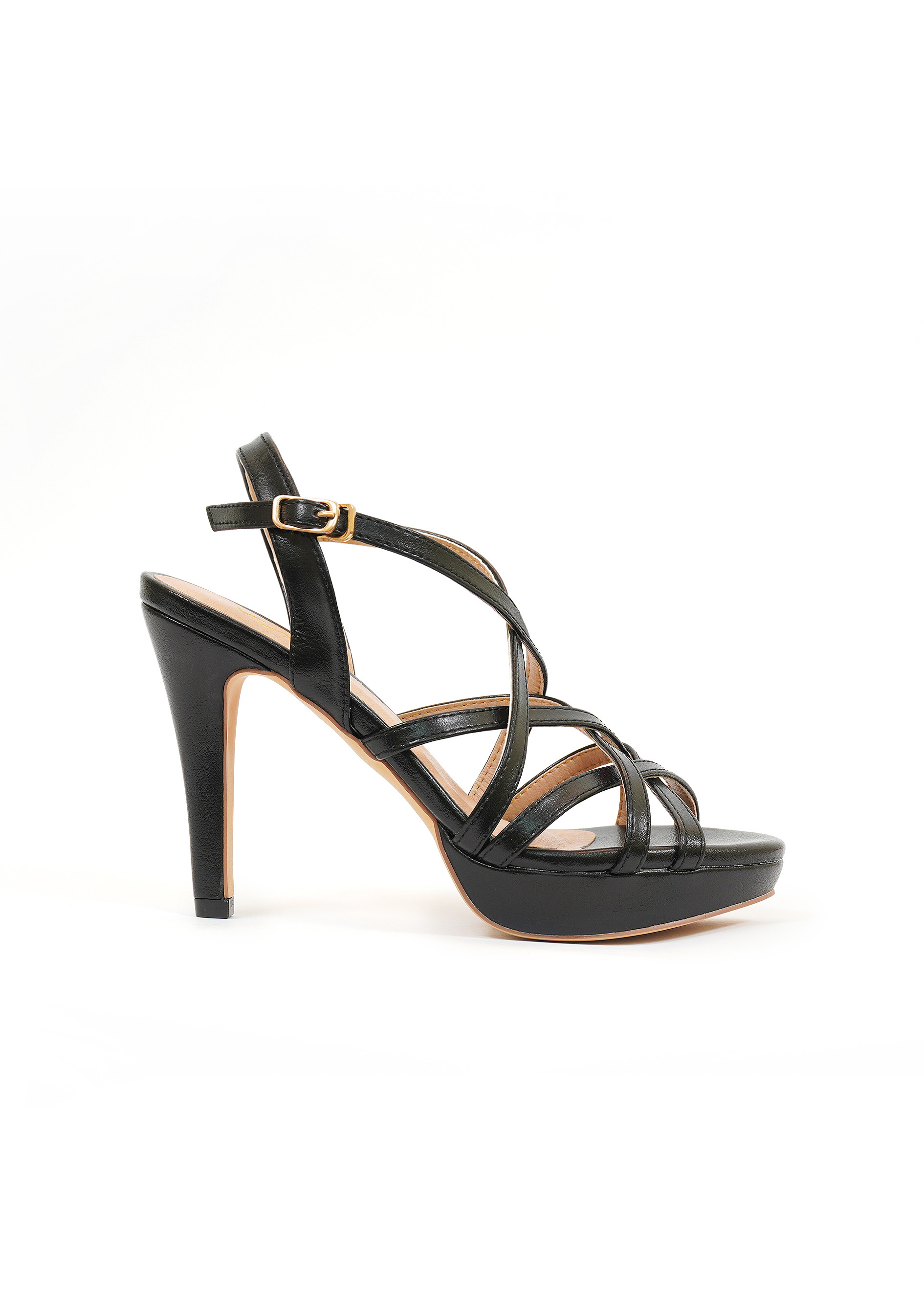 Giày sandal nữ cao gót, cao 10CM, da Microfiber nhập khẩu cao cấp êm ái,quai đan. Mũi tròn, gót nhọn bọc da đồng màu sang trọng và chắc chắn,trợ đế 2cm phía trước: SD.V09.10F