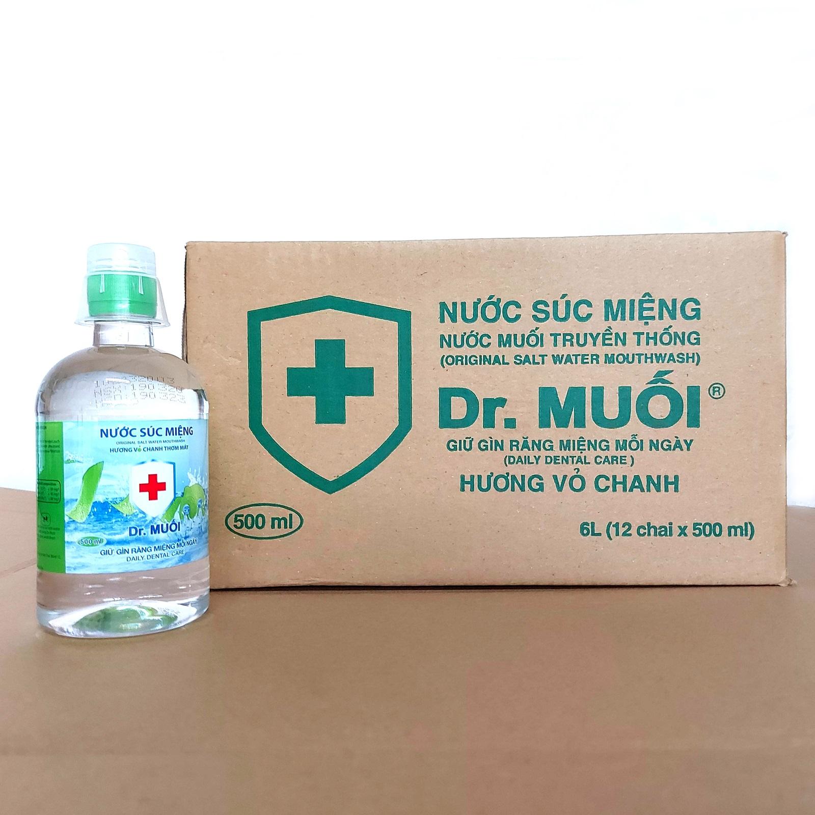 1 Thùng 12 chai Nước súc miệng Dr. Muối hương vỏ chanh 500ml