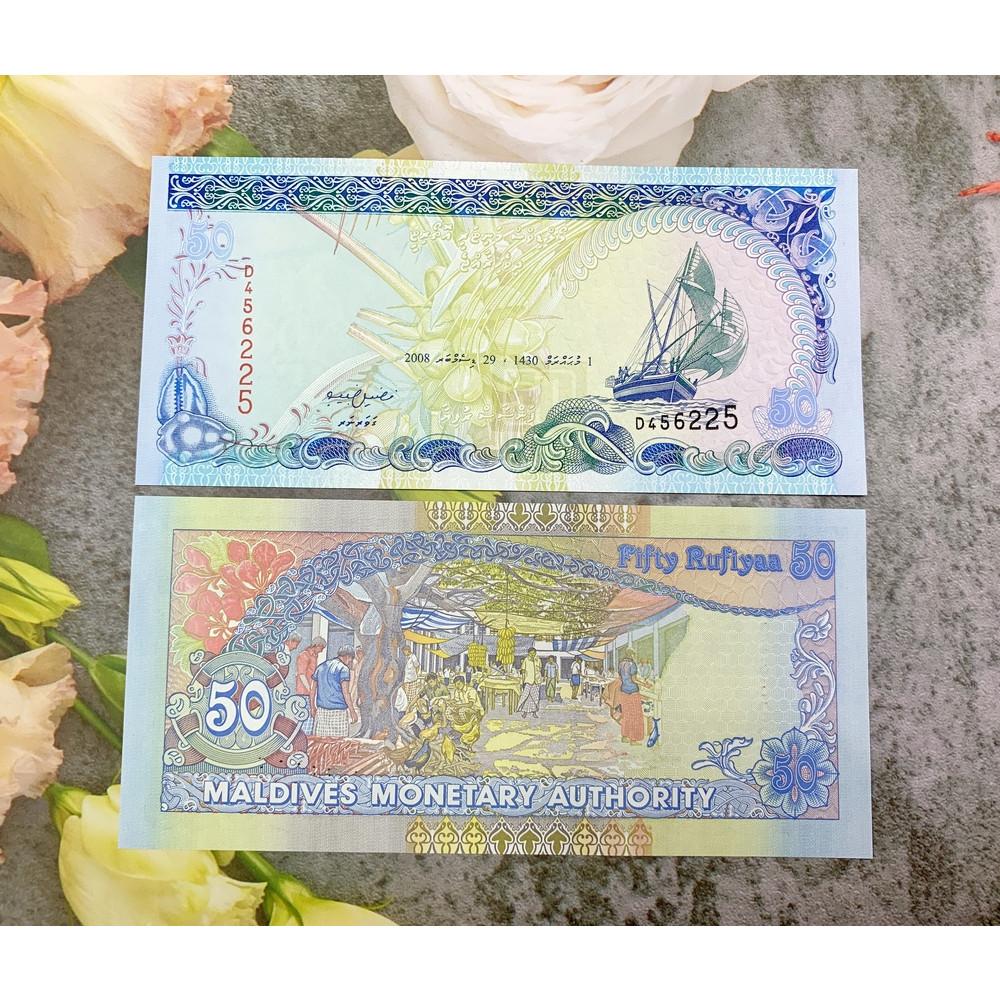 1 trong top 10 tờ tiền đẹp nhất thế giới, 50 Rufyaa của Maldives , mới 100% UNC, tặng túi nilon bảo quản
