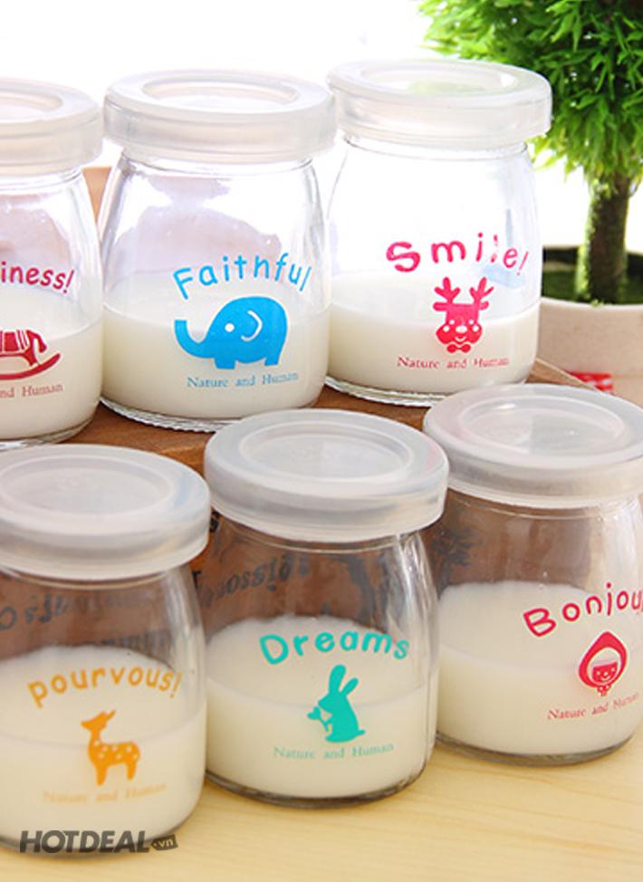 Bộ 24 hũ sữa chua thủy tinh TẶNG 02 KHAY LÀM THẠCH, LÀM ĐÁ CAO CẤP