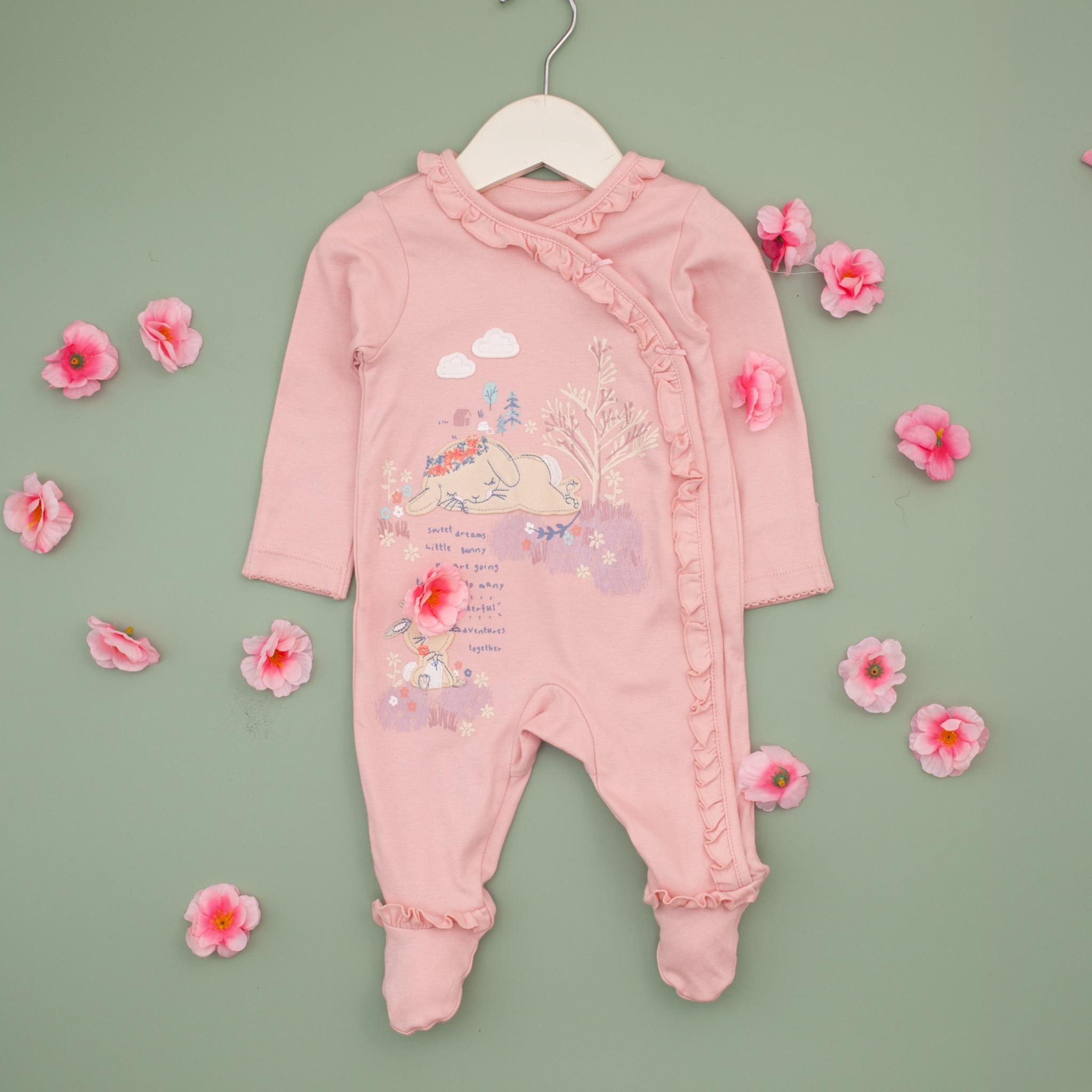 body liền bàn màu hồng vuền bèo cho bé