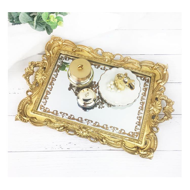Khay gương chữ nhật Gold viền hoa văn cổ điển