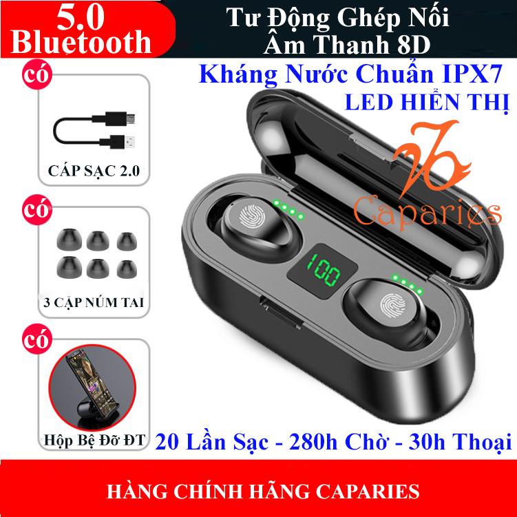 Tai Nghe Bluetooth 5.0 CAPARIES V4-XG13 - (Tai Nghe Không Dây) Chống Nước - Chống ồn - Tích Hợp Micro - Tự Động Kết Nối - Nhỏ gọn - Âm Thanh 8.0 HD - Tương Thích Cao Cho Tất Cả Điện Thoại CHÍNH HÃNG