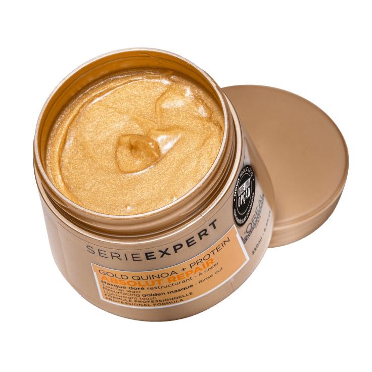 Hấp dầu nhũ vàng phục hồi tóc hư tổn nặng L'ORÉAL Serie Expert Gold Quinoa + Protein Absolut Repair Golden Masque Lightweight Touch 250ml