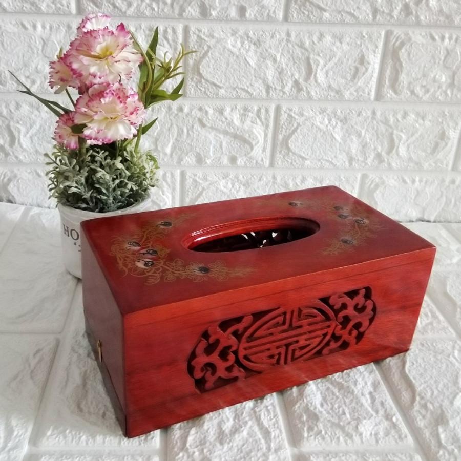 Hộp khăn giấy bằng gỗ hương cao cấp lọng hoa văn chữ nhật HGCN01