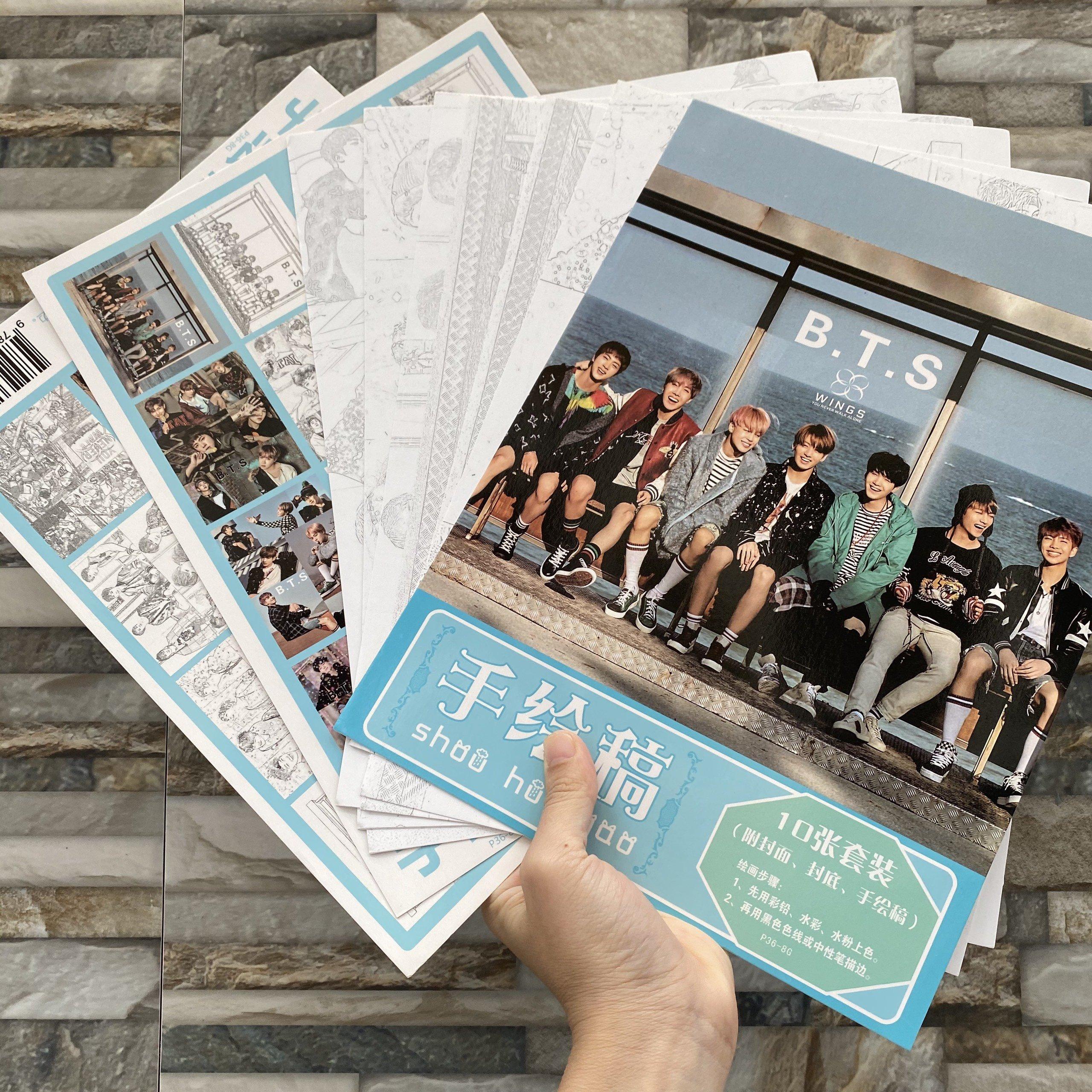 Tranh tô màu BTS tập bản thảo phác họa thần tượng idol kpop
