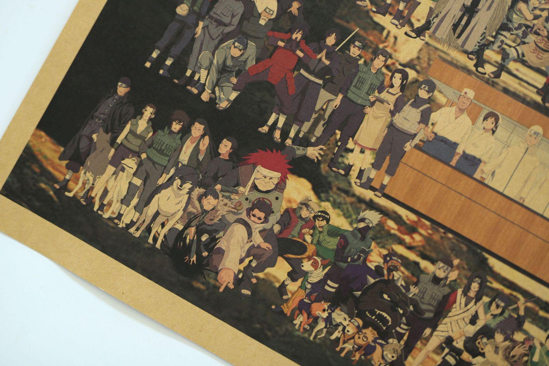 Poster anime Naruto, Tranh kraft đại gia đình Naruto size Lớn 70.5*50cm [KA002]