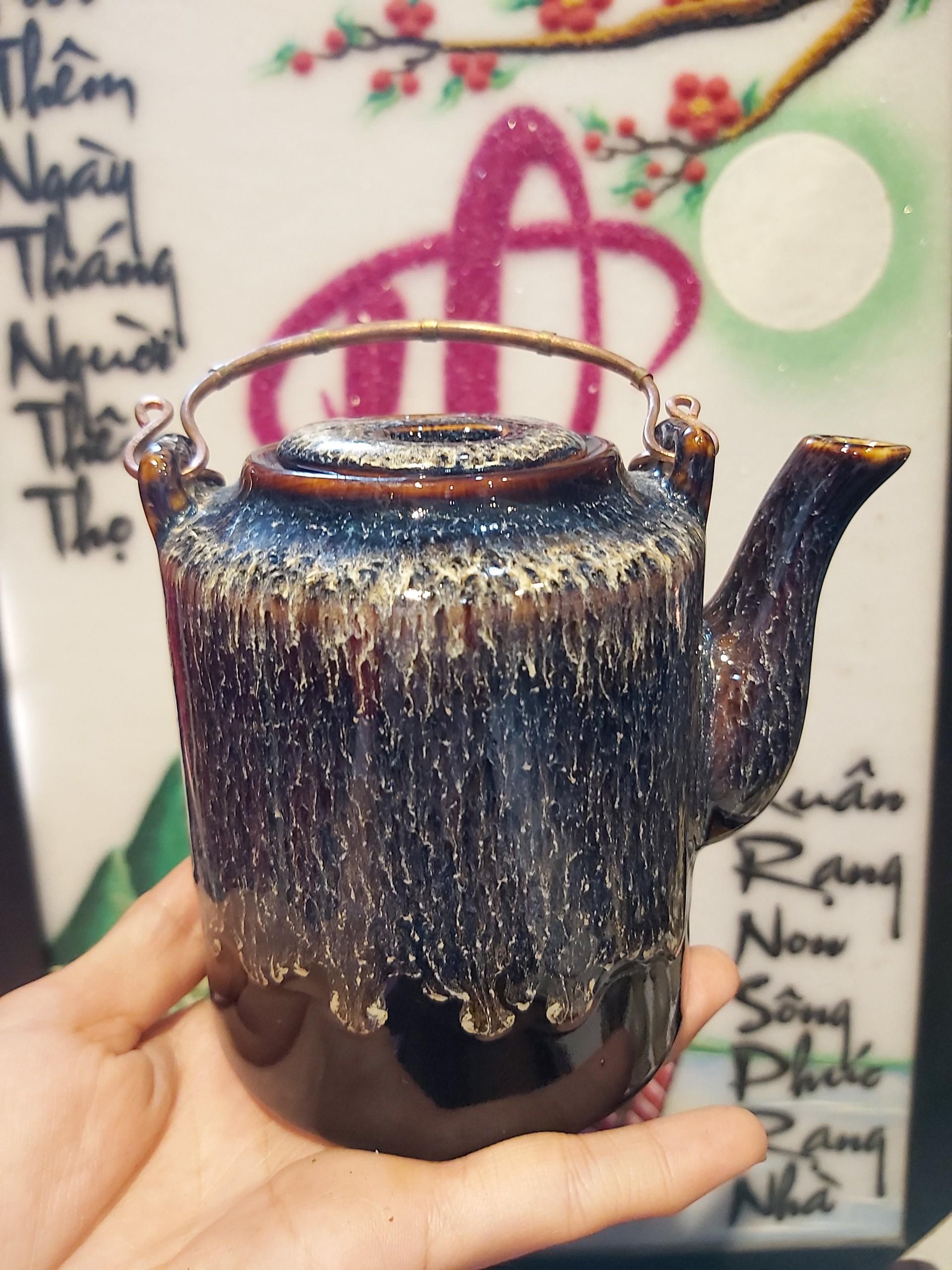 Bộ Bình trà ấm tích chén đĩa Bát Tràng men bóng hỏa biến nhị ẩm  MNV-TS565