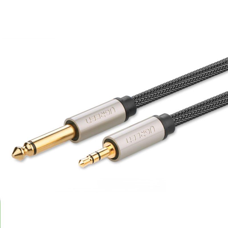 Cáp 3.5mm TRS ra 6.35mm TS Stereo Pro Audio mạ vàng 24K 2M màu xám đen  Ugreen 127AT10628AV Hàng chính hãng