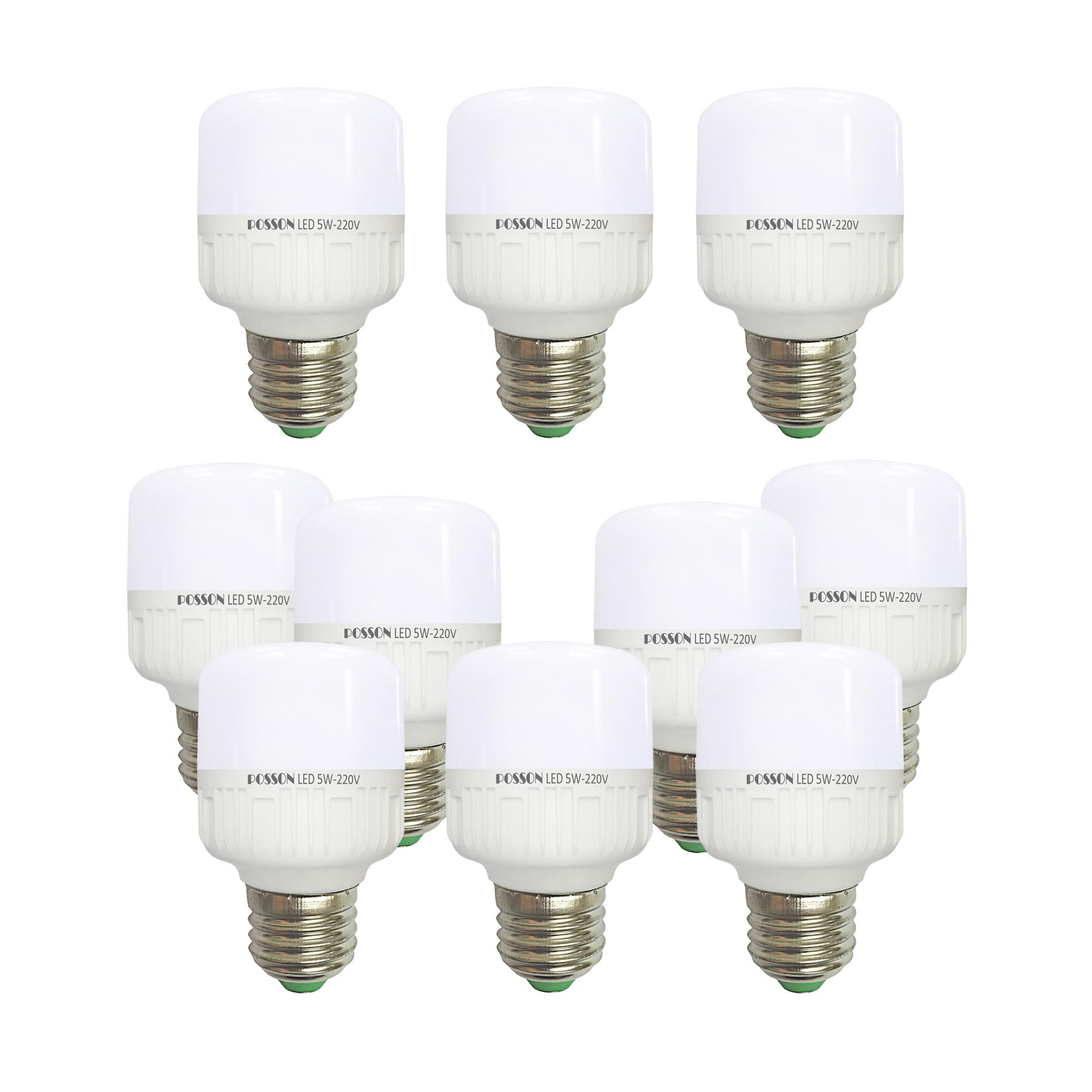 10 Bóng đèn Led trụ 5w tiết kiệm điện sáng trắng-vàng nắng Posson LC-N5-5G