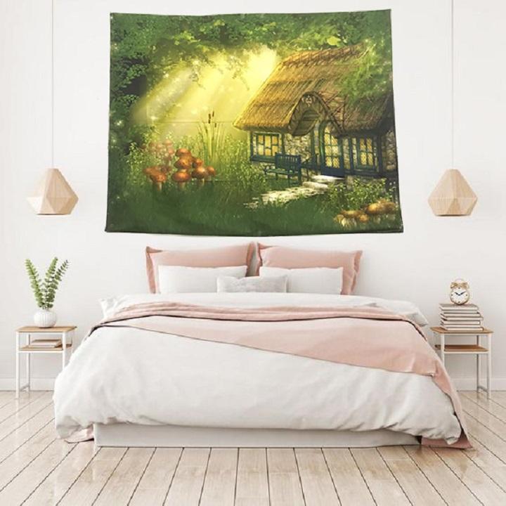 Tranh vải treo tường khu vườn cổ tích màu sắc sinh động