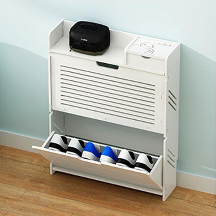 Tủ giày nhựa 2 ngăn khe thoáng XJ-FD-01, có cửa xếp gọn - hộp đựng đồ xi giày, khăn lau - Chất liệu nhựa PVC - Kích thước 80.5x62x17cm