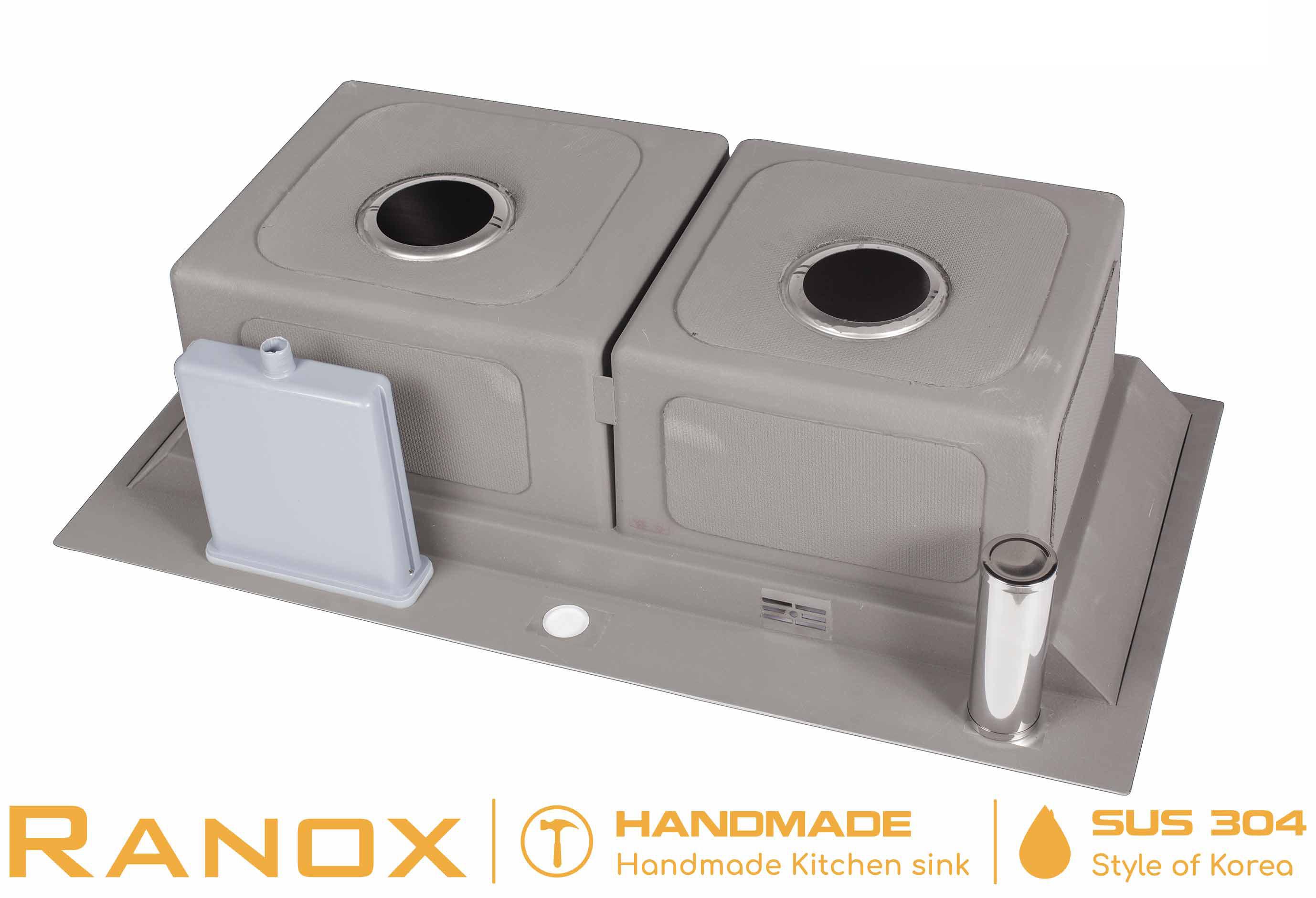 Bộ chậu rửa bát RANOX Hàn Quốc 2 đường nóng lạnh