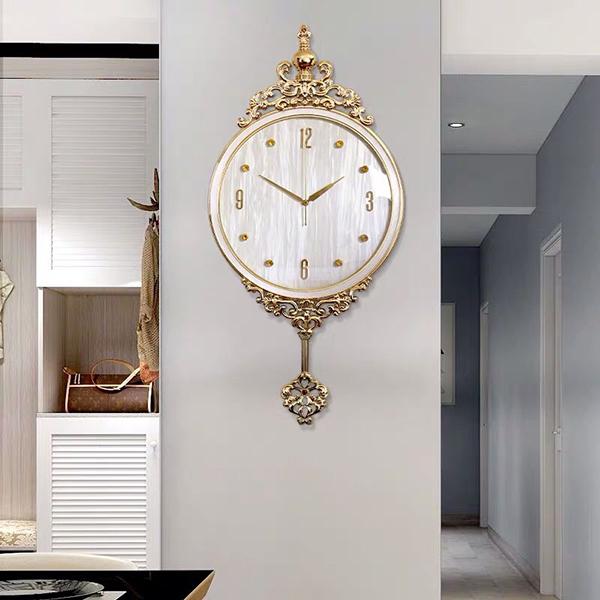 Đồng hồ đồng nguyên chất mạ vàng thật 18k, mặt đồng hồ khảm trai BN HAPPYHOME QT003