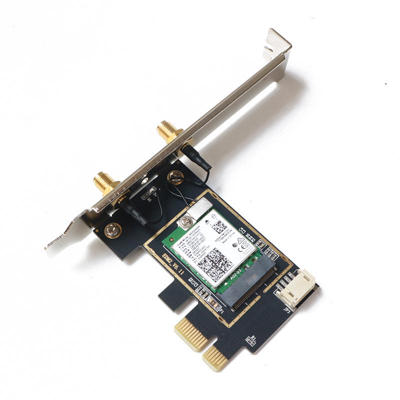 Bộ card WIFI Intel WIFI 6E AX210 cho máy bàn dùng cổng PCIe hỗ trợ 2.4Ghz 5Ghz và 6Ghz - Bluetooth 5.2 - Hàng nhập khẩu
