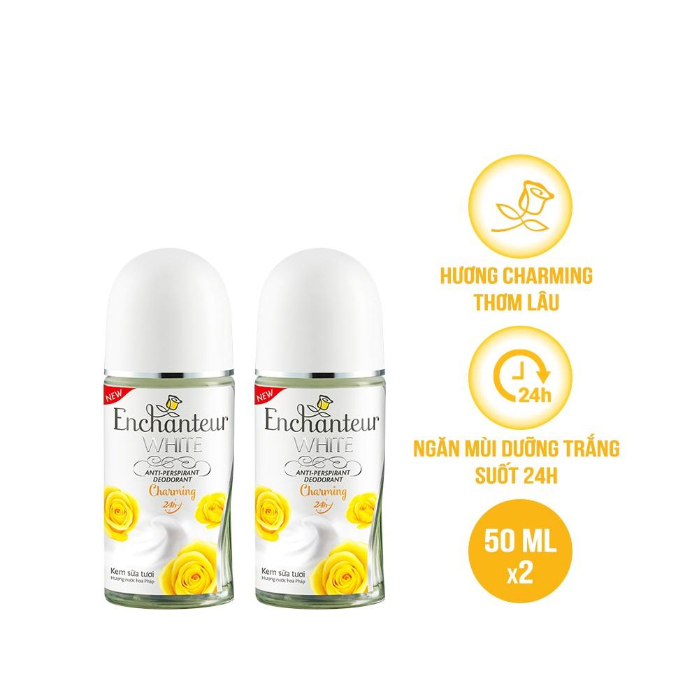 Combo 2 Lăn khử mùi trắng da Enchanteur Charming 50ml/ Chai