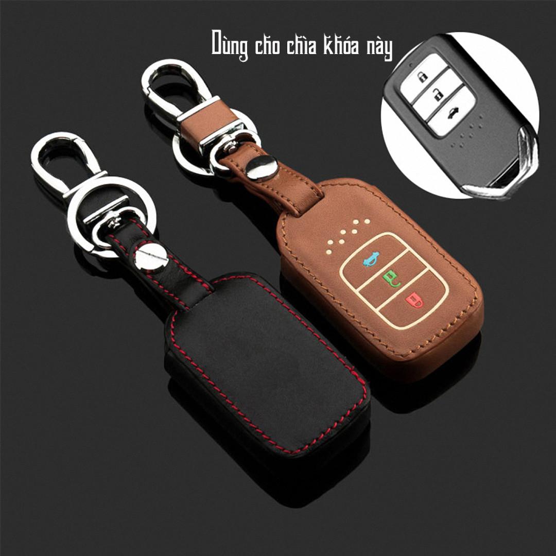 Cho xe Honda, bao da chìa khóa ô tô 3 nút dạ quang kiêm móc khóa chất liệu da, Inox MIHOCO Honda 3N/ Hàng chính hãng