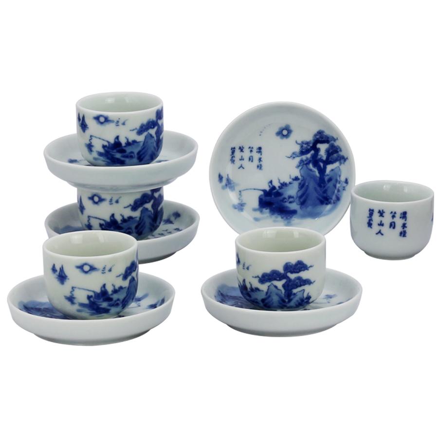 Bộ ấm chén men lam quai ngang vẽ Lã Vọng gốm sứ Bát Tràng (bộ bình uống trà, bộ bình trà)