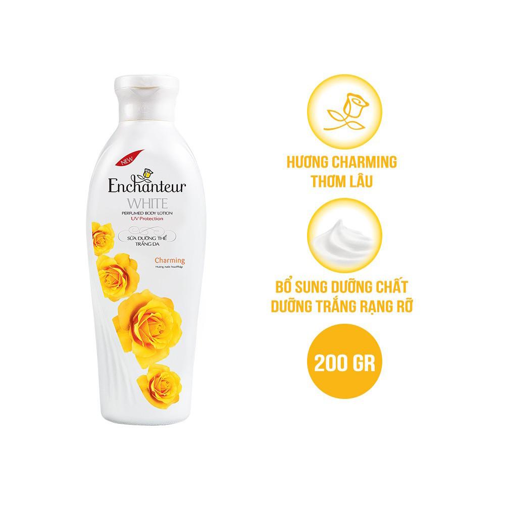 Bộ 3 Chai Sữa Dưỡng Thể Trắng Da Enchanteur Charming 200gr/ chai Tặng Xà Bông Thơm Enchanteur Charming 90gr