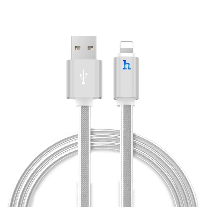 Cáp sạc và truyền dữ liệu Hoco Lightning hỗ trợ sạc nhanh 2.4A, tích hợp đèn LED báo sạc, dây sạc dẹt siêu bền, UPL12, dành cho iPhone/iPad - Hàng chính hãng