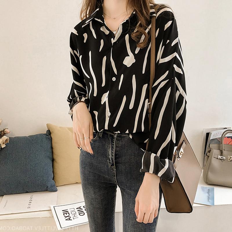 Women Fashion Graffiti Printing Long Sleeve Loose Shirt - Black Size XXL