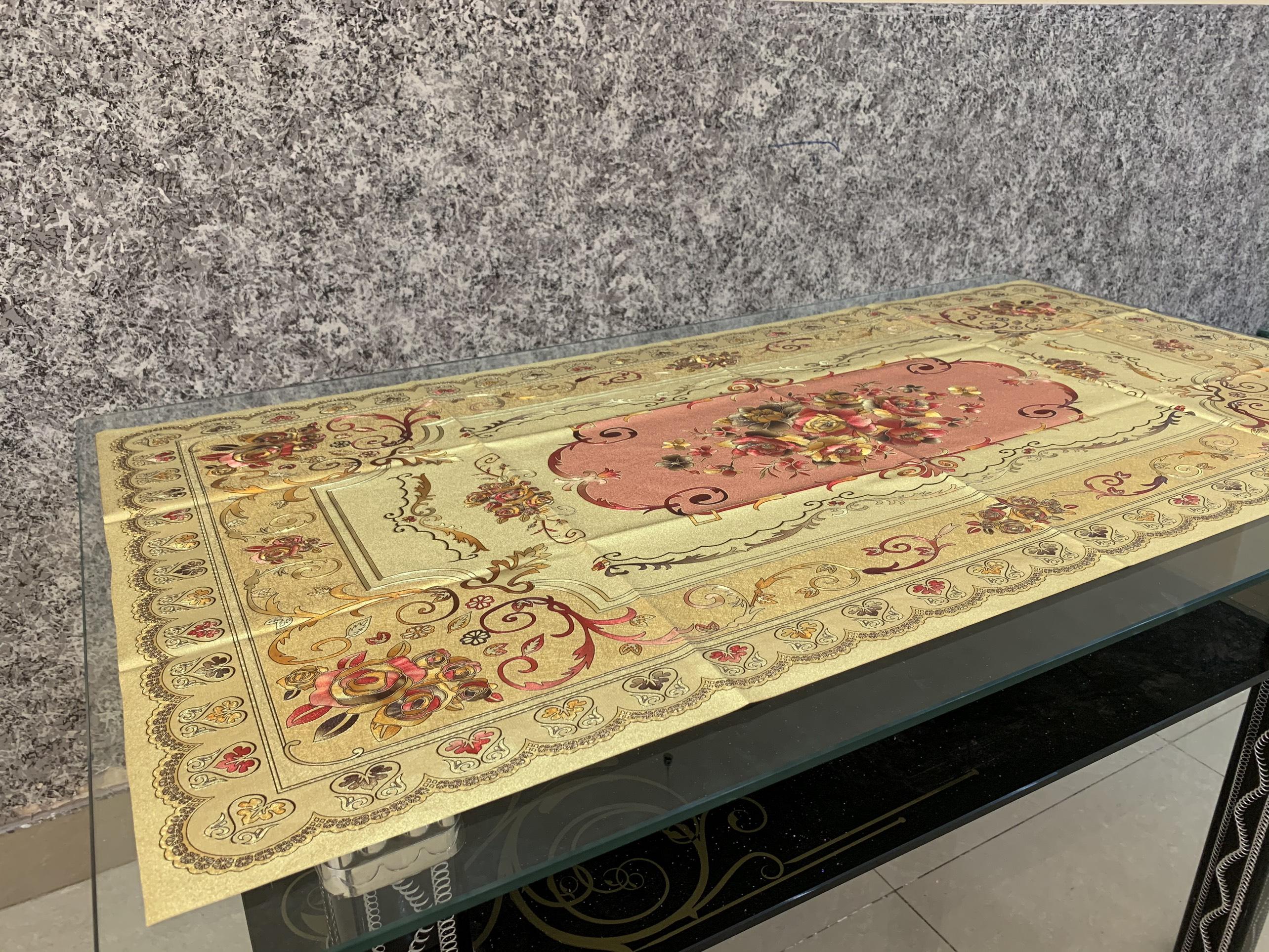 Khăn trải bàn 60x120cm vải bố hoại tiết 3d cao cấp(giao màu ngẫu nhiên)