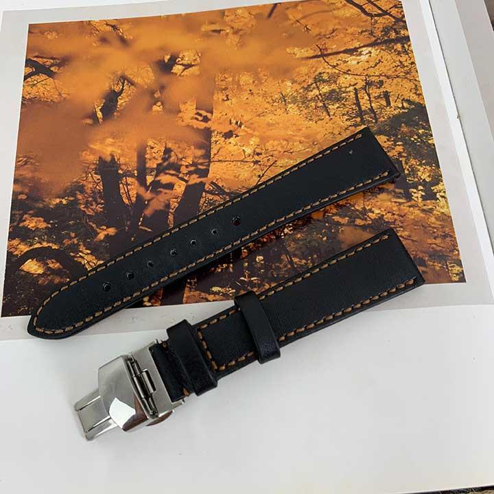 Dây đồng hồ nam - khóa bướm - màu đen - da bò DT352