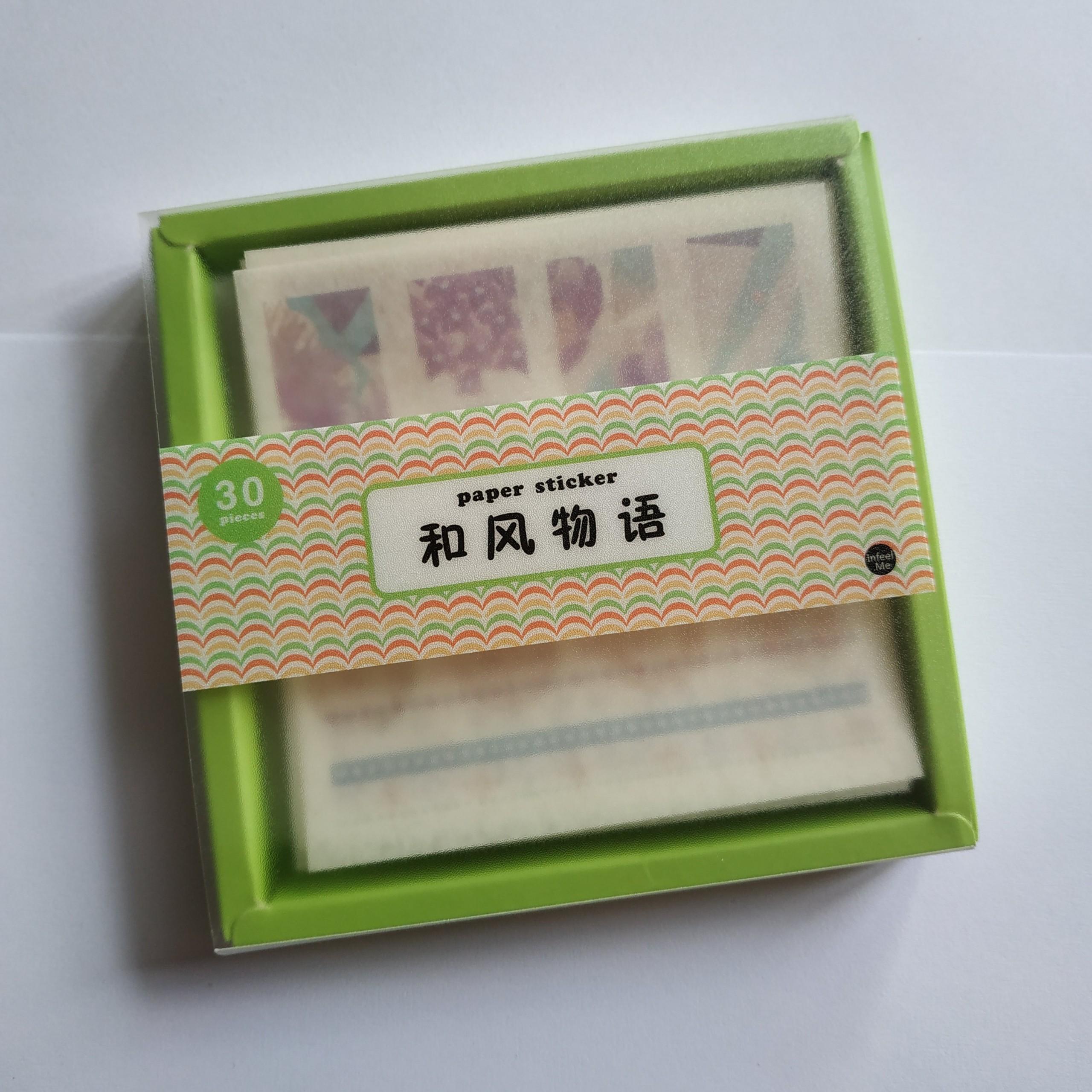 Hộp sticker giấy washi 30 tấm hoạ tiết Nhật