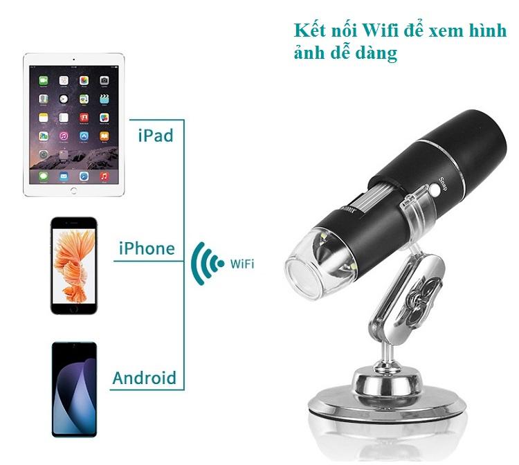 Kính hiển vi không dây kết nối wifi tích hợp đèn 8 led ánh sáng trắng độ phóng đại 1000X M04 ( Tặng kèm bộ miếng dán dạ quang phát sáng hình con bướm ngẫu nhiên )