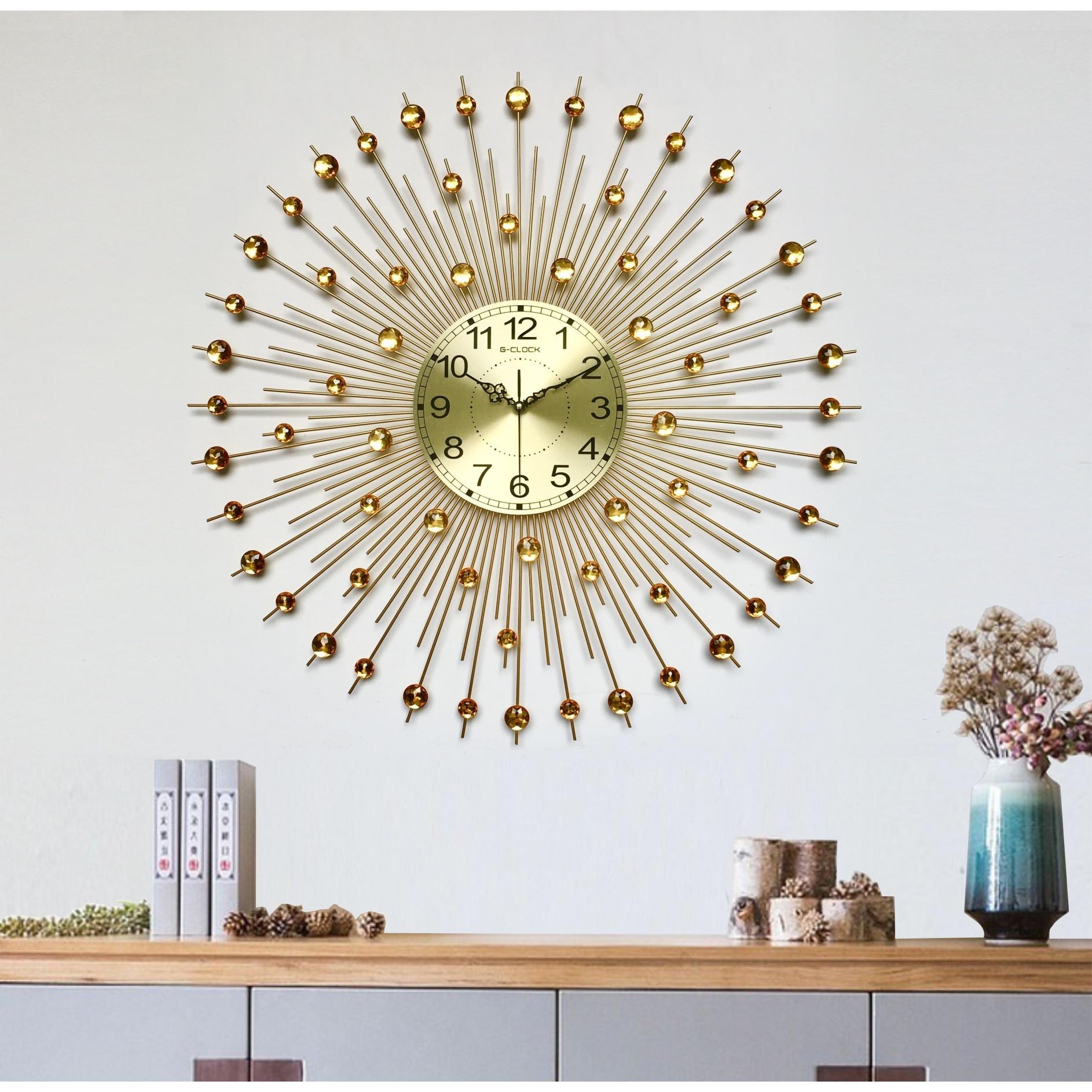 Đồng hồ treo tường MONSKY GCLOCK loại to KT 750mm cao cấp làm từ kim loại sơn tĩnh điện chạy máy kim trôi chuẩn (1802BG)